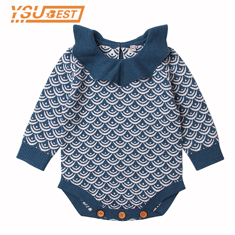 Baby Body Mermaid Crochet Infant Girls Bodysuits Clothes Long Sleeve Onesie Spring Fall Outerwear Newborn Baby Coveralls Overall