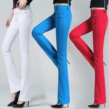 2019 Spring Womens High Waist Trousers Candy Pants Skinny Wide Leg office Work Stretch For Women