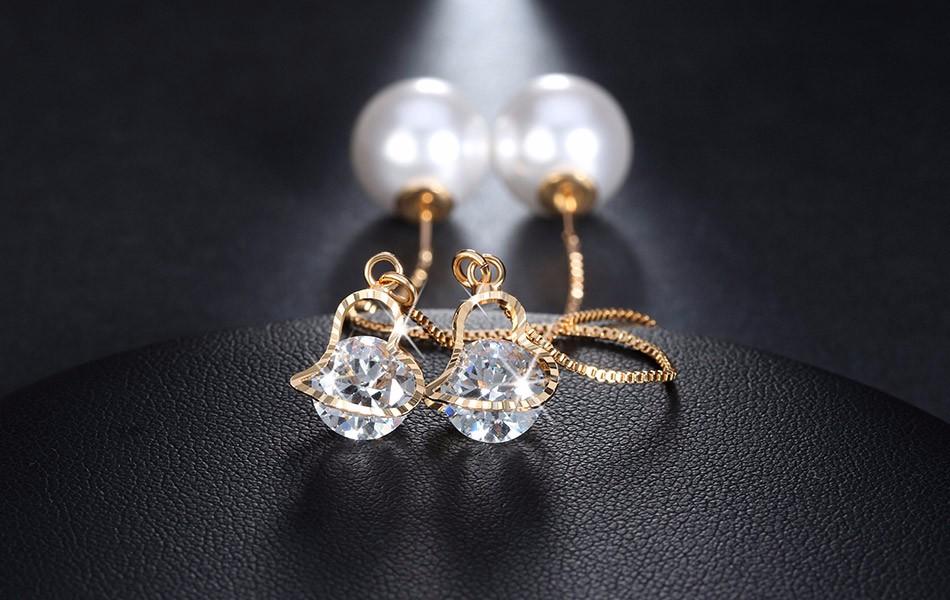 Effie Queen Fashion Cute Ear Wire Earrings Female Models Long Drop Crystal Imitation Pearl Jewelry Dangle Earrings Brincos DDE26 8
