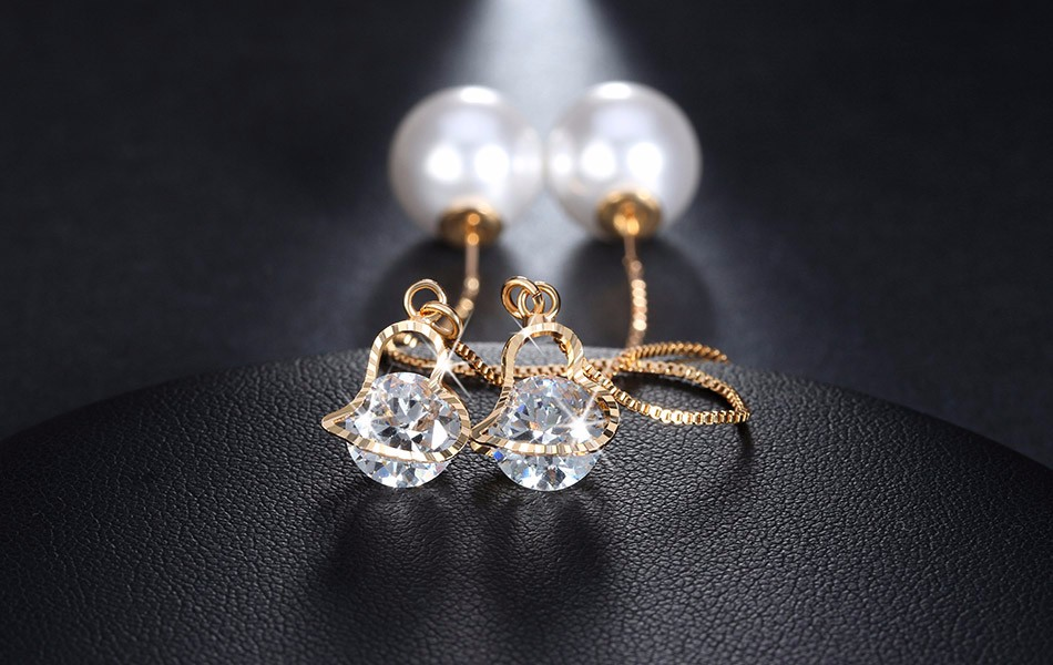 Effie Queen Fashion Cute Ear Wire Earrings Female Models Long Drop Crystal Imitation Pearl Jewelry Dangle Earrings Brincos DDE26 8