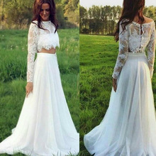 IIIusion Two Pieces Lace Wedding Dress 2017 Hot Sale White Tulle Long Bridal Gowns A-Line Full Sleeve Women Bride Robe De Mariee