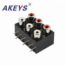 2PCS AV6-8.4-22 Audio Video Two Row 6 Female Jack AV Concentric Socket with screened RCA цена и фото