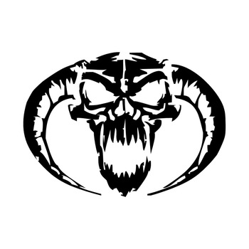 13*9.4CM Demon Skull Personalized Car Stickers Stylish Motorcycle Vinyl Decals Black/Silver C7-1170 image