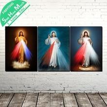 дешево!  3 шт. Иисус верит в тебя Wall Art Холст Картины Плакаты и Принты Обрамленная Художественная  Лучший!