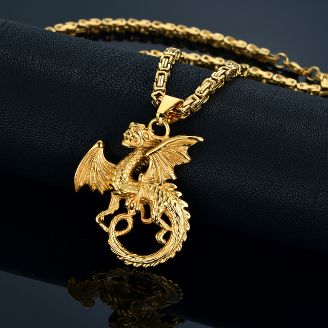 316l stainless steel dragon necklaces pendant mens gold color ru hot 316l stainless steel dragon necklaces pendant mens gold color ru hot byzantine box chain pendant aloadofball Gallery