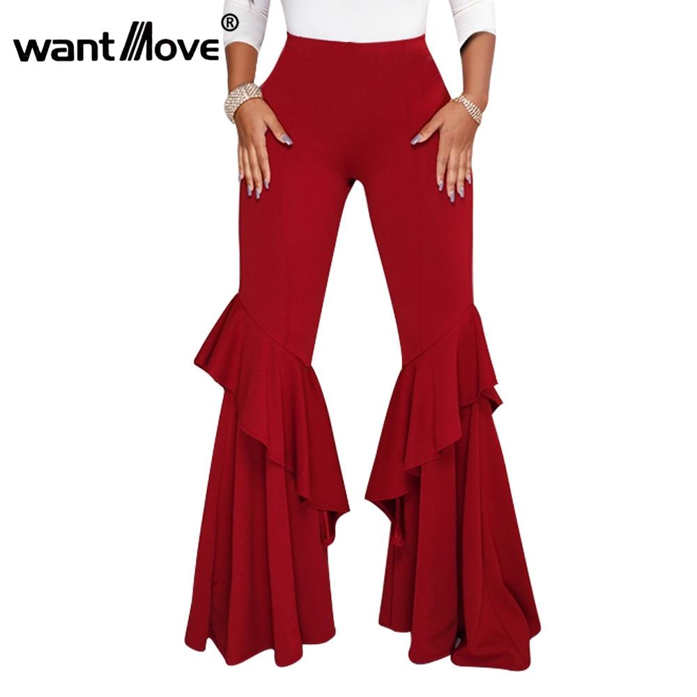 Wantmove 5 Colors Flare Pants Ruffer Long Pants Patchwork 2018 New Autumn Winter Women High Waist Solid Full Pants JZ237