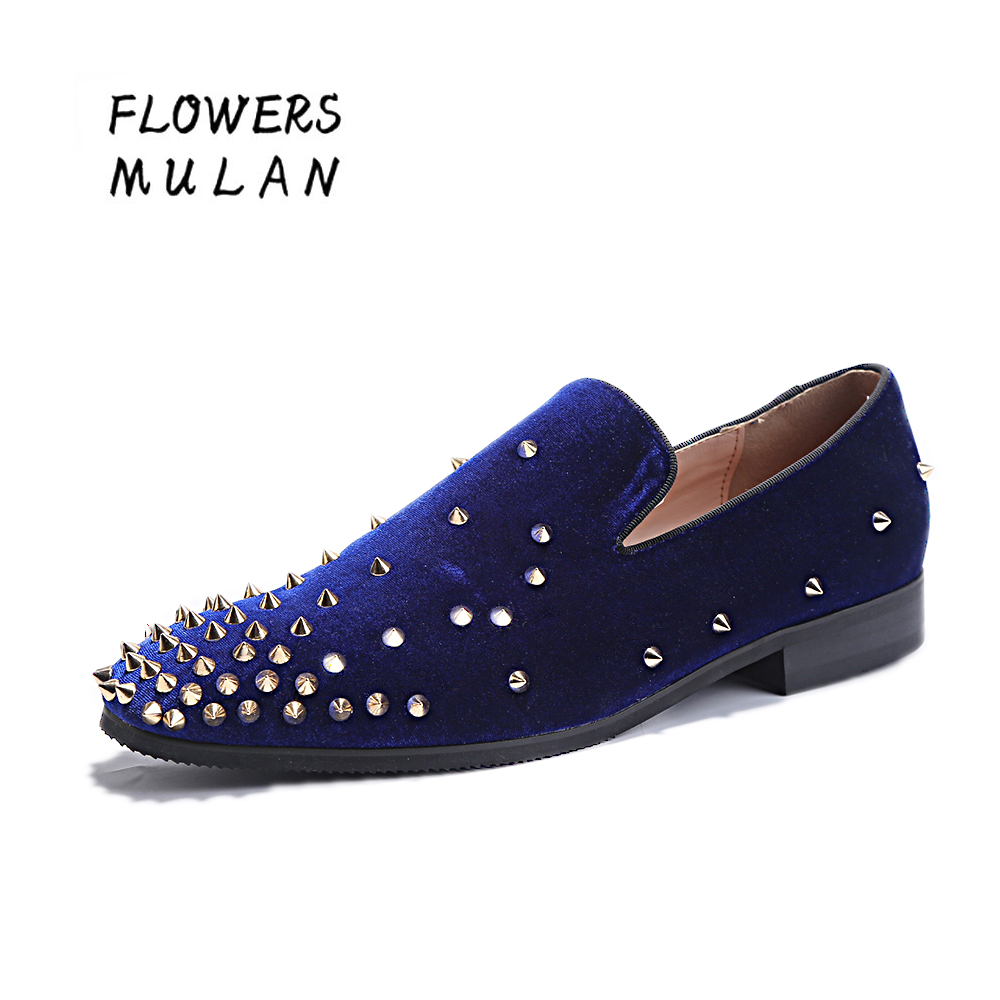 مخملی آبی بالا مخملی مردانه با گل میخ - کفش مردانه