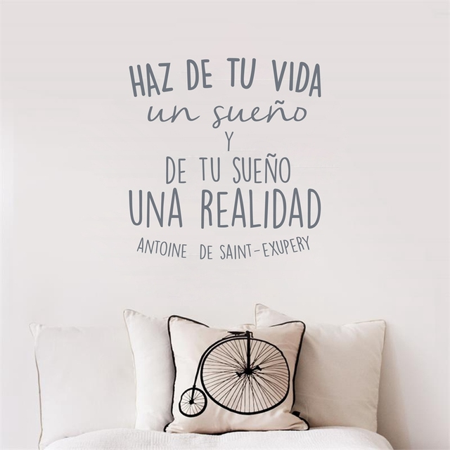 Spanish Inspirational Positive Quotes Vinyl Wall Sticker Life Dreams Art  Decals For Spanish Home Decoration