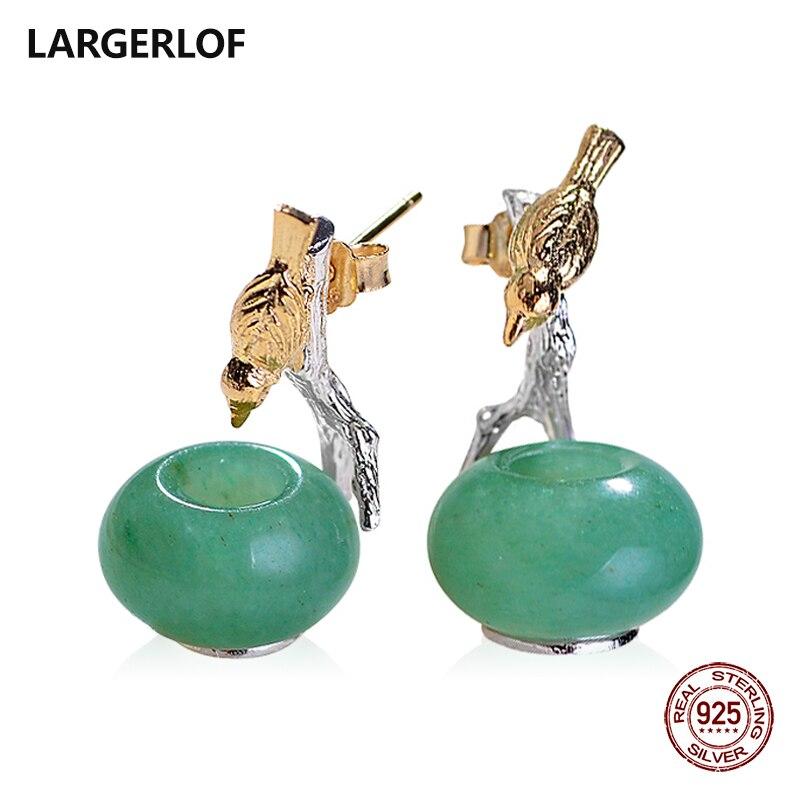 LARGERLOF 925 boucles d'oreilles en argent Sterling femmes boucles d'oreilles en Jade argent bijoux fins boucles d'oreilles Vintage pour les femmes EG41203