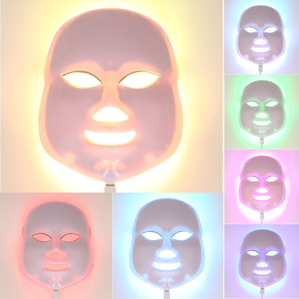 2017 Newest 7 Color Light  Photon LED Facial Mask Skin Care Rejuvenation Wrinkle Acne Removal Face Beauty Spa Instrument US Plug 3mhz ultrasonic facial massager galvanic deep cleaning led light photon care acne removal skin rejuvenation face lift spa beauty