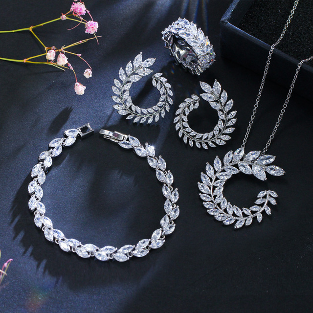CWWZircons 4 Pcs Leaf Shape New Fashion CZ Necklace Earring Bracelet and Ring Sets Famous Brand Jewelry Womens Accessories T011 4