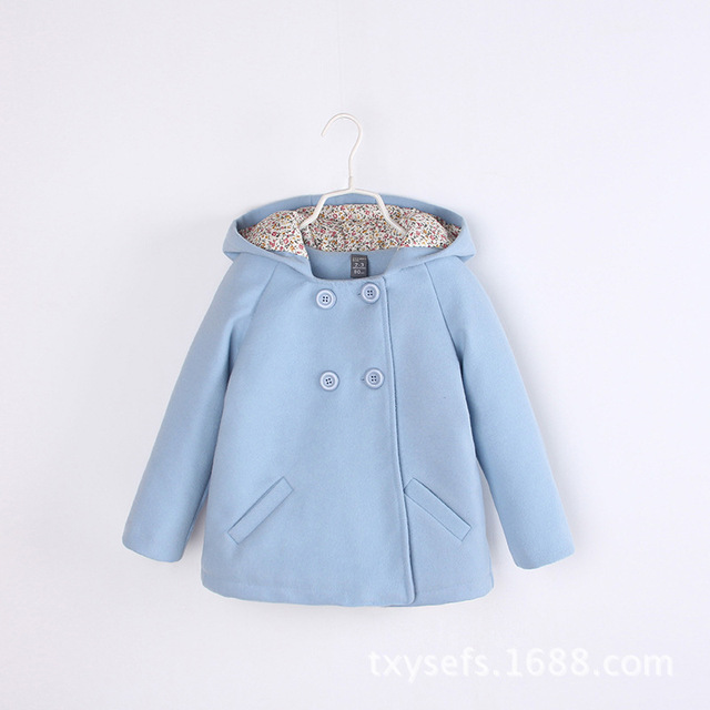 2016 new baby girls cute floral lining double-breasted hooded windbreaker jacket brand woolen children's clothing wool & blends