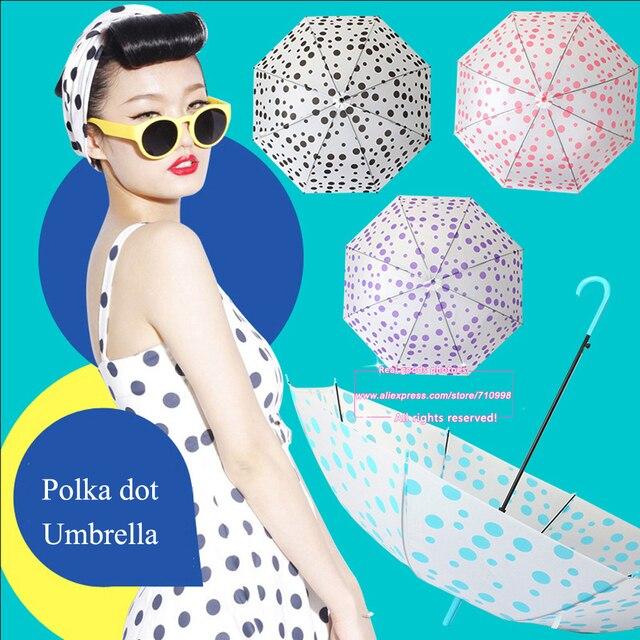 42113836b729e Drop Shipping Windproof Women Fashion Polka Dot Umbrella Rain Protection  Wholesale Sunny Rainy Umbrellas