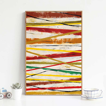 Simple Color Abstract Watercolor Lines Combination Canvas Painting Art Print Poster Picture Living Room Office Home Decoration