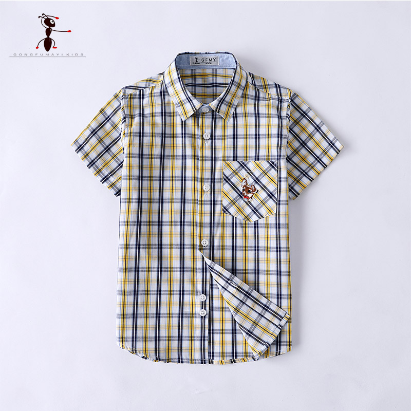 Kung Fu Ant 2018 Plaid Classic Short Sleeve Shirts Turn-down Collar Kids Blouses Casual Students S3050 slimming turn down collar plaid short sleeves shirts for men