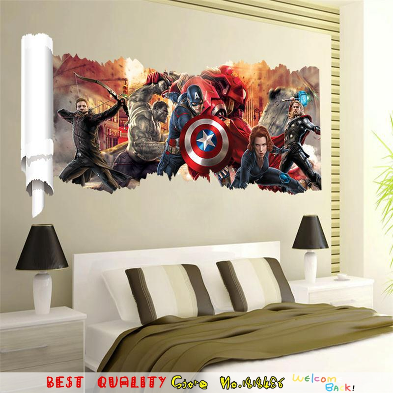 Large Marvel Wall Sticker 3D Avengers Captain America Thor Hulk Home Decal Wall Decals Art Boy Child Birthday Gifts Movie Poster