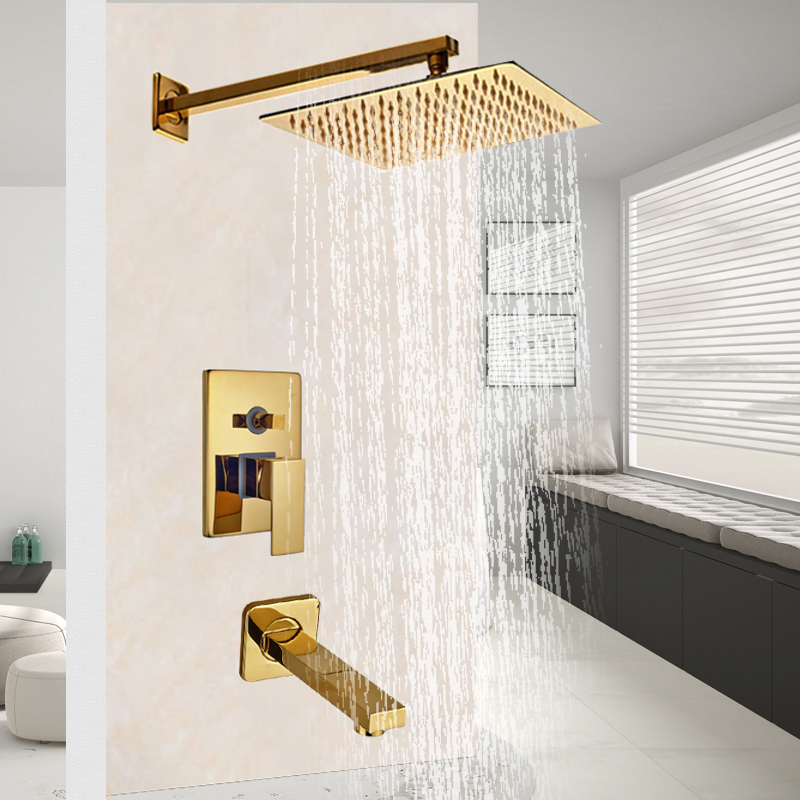 Golden Shower Faucet Set Single Handle Shower Mixer Faucet Bath Shower Hot Cold Tap Rainfall 10 shower head Brass Spout sognare brass body bathroom shower faucet single handle cold and hot bath shower faucet set with hand shower chrome finish d5126