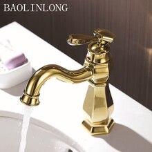 Gold Brass Bathroom Faucets Deck Mount Vanity Vessel Sinks Mixer Basin Faucet Water Crane Tap