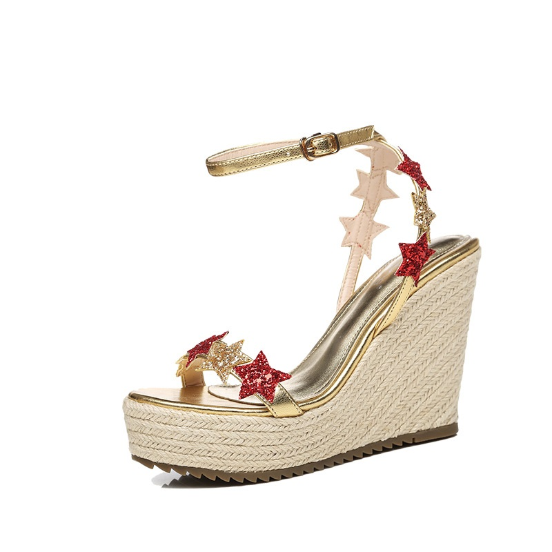 7183ce7589d 2019 Summer Women's High Heeled Wedge Sandals Ladies Platform Shoes Sale  Gold Silver Footwear Online
