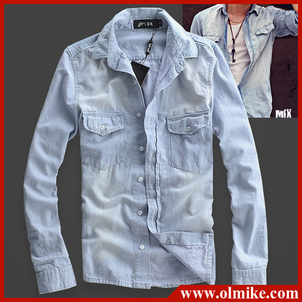 f2d34143a8 Men s slim fit Distressed denim long sleeved shirts