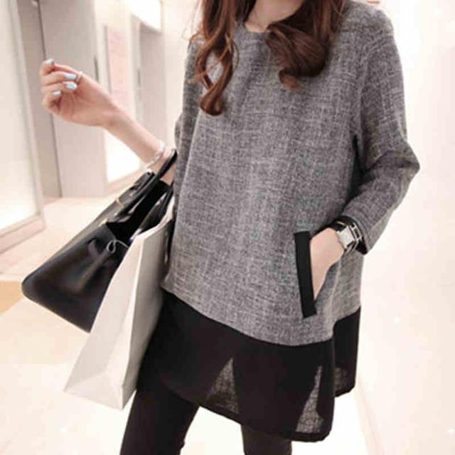 Women Tops And Blouses 2017 New Fashion Plus Size Women Clothing O-Neck Long Sleeve Linen Shirts White Grey