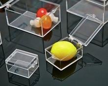 3.8x2.9x2.2 cm 10 pz/lotto Plastica Trasparente Mini Rettangolare Scatola di Campione di Piccoli Gioielli scatola di Immagazzinaggio bin