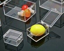 3.8x2.9x2.2 cm 10 sztuk/partia plastikowe przezroczyste Mini prostokątny pojemnik na próbki mała biżuteria pudełko do przechowywania kosz na śmieci