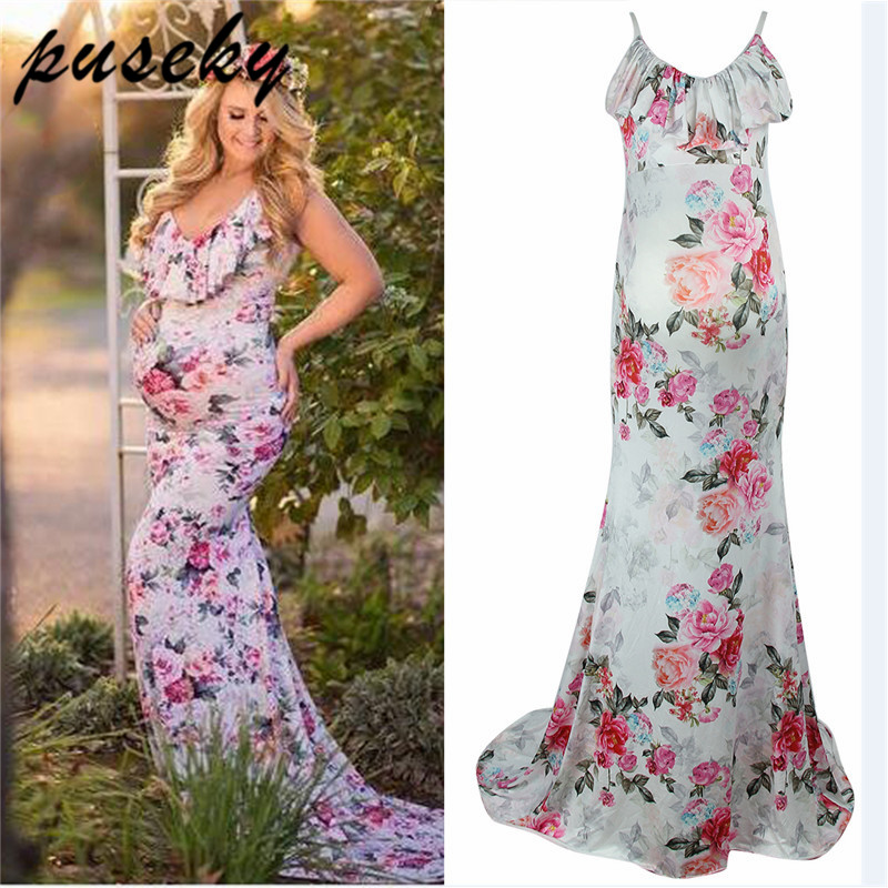 Puseky Maternity Dress Ruffle Collar Sleeveless Fashion Floral Falbala Pregnant Dress Long Maternity Cloth For Photography PropsPuseky Maternity Dress Ruffle Collar Sleeveless Fashion Floral Falbala Pregnant Dress Long Maternity Cloth For Photography Props