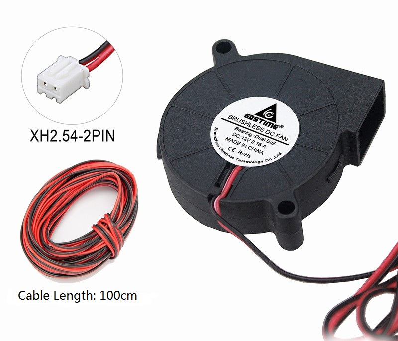 2Pcs DC 24V Brushless Blower Fan for Cooling 3D Printer 50x50x15mm 1m Cable Wire