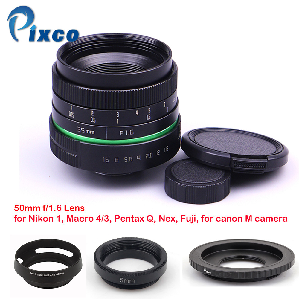 Pixco 35mm f/1.6 APS-C Lens+ Lens Hood+ Macro Ring +16mm C Mount adapter for Nikon 1 Micro 4/3 Pentax Q Nex Fuji for EOSM camera 35mm f 1 6 c mount lens for aps c sensor sony e nex 7 nex6 nex5t 5r 3 a5100 a6000 a5000 a3000 a6300 a6500