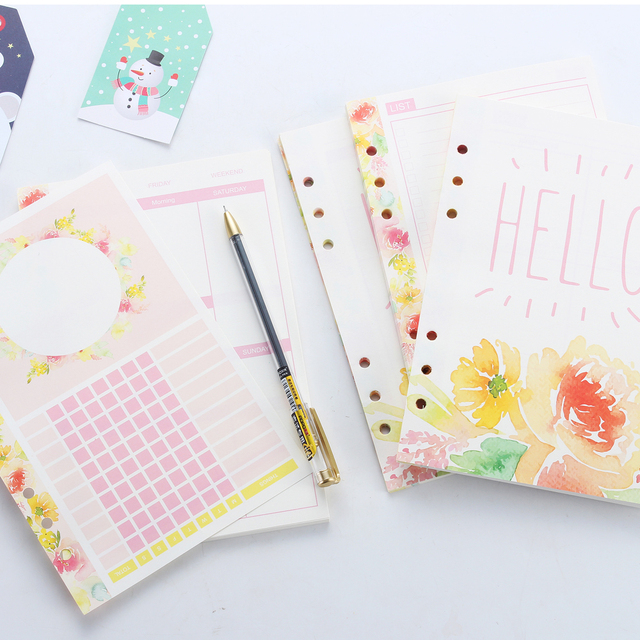 New cute inner paper core for spiral notebooks,candy flower pattern refilling paper:weekly/daily/monthly planner/list A5 A6