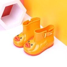 Мини Мелисса дети Ботинки Желе Мягкий детской обуви обувь для девочки Детские Обувь для девочек дождь Ботинки с уткой дети дождь Водонепроницаемый пляжные сандалии
