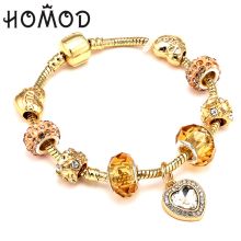 HOMOD Gold Color Charm Bracelet with Love Heart Crystal Pendant fit Brand Bracelets Women Wedding Jewelry Gift