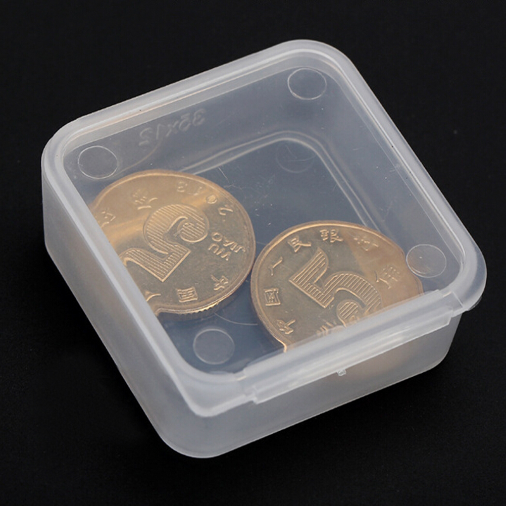 10X 40mm Round Clear Badge Coin Storage Box With Cover Plastic Container Supply