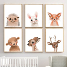 Cartoon Rabbit Fox Bear Deer Cat Nordic Posters And Prints Wall Art Canvas Painting Watercolor Pictures For Kids Room Decor