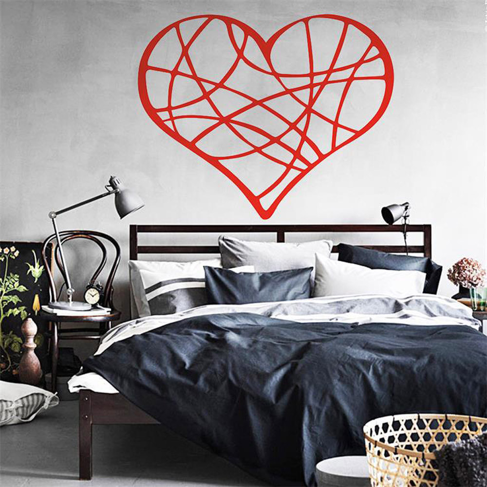 Valentines Day Love Geometry Wall Sticker PVC Wall Decals Wedding Decoration Removable 3D Wall Stickers Living Room Home Decor ...