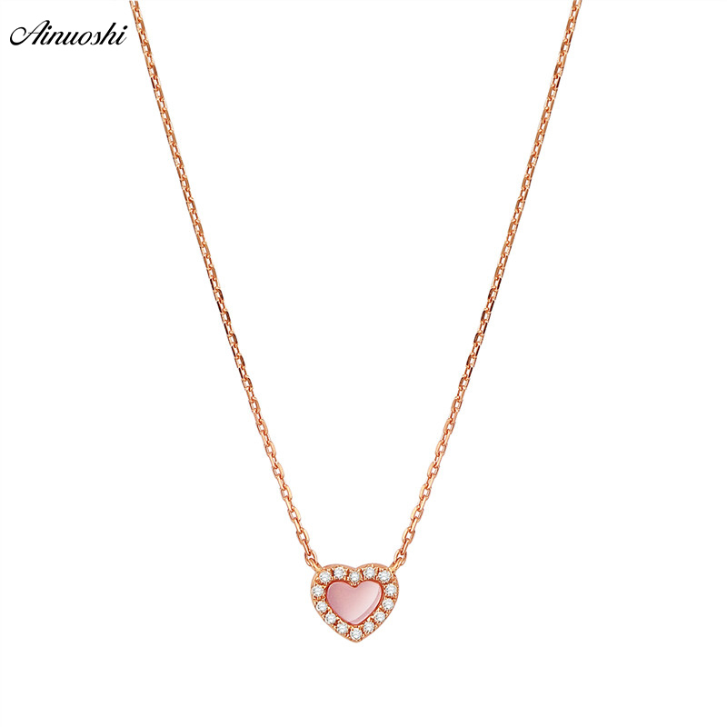 AINUOSHI Genuine 18K Rose Gold Female Pendant Necklace Natural Pink Onyx Pendant Necklace Heart-shaped Diamond Pendant Jewelry