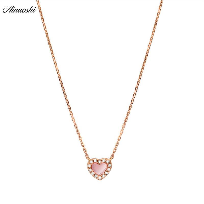 AINUOSHI Genuine 18K Rose Gold Female Pendant Necklace Natural Pink Onyx Pendant Necklace Heart shaped Diamond Pendant Jewelry