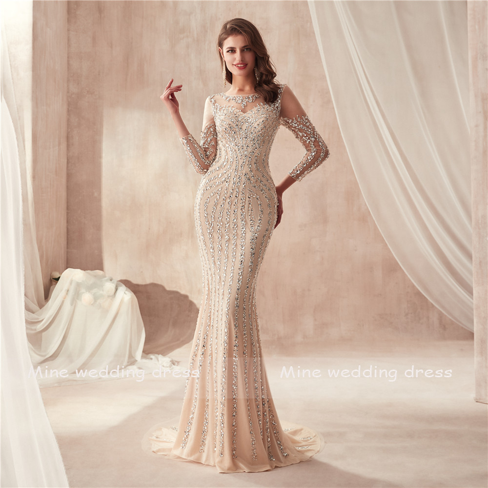 High Neck Long Sleeves Champagne Prom Dress Full Crystals Bling Bling Sheath Evening Dress