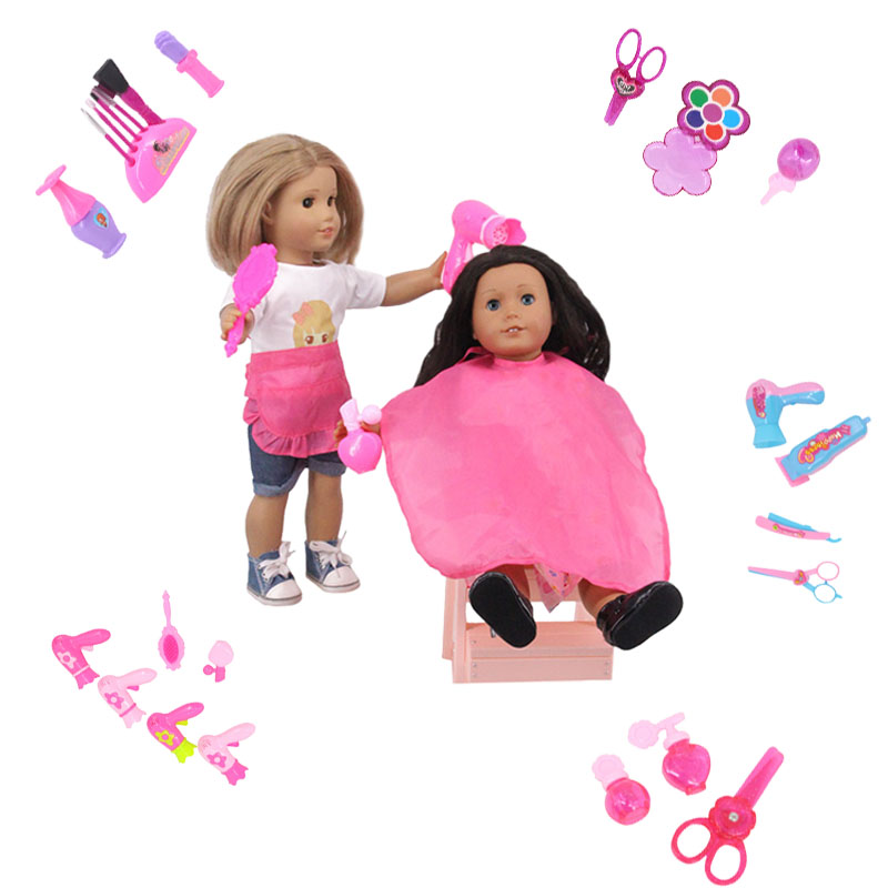 Luckdoll New Doll Accessories Hairdressing Tools Cosmetics And Other Suitable For 18-inch American Doll Toy Holiday Gift