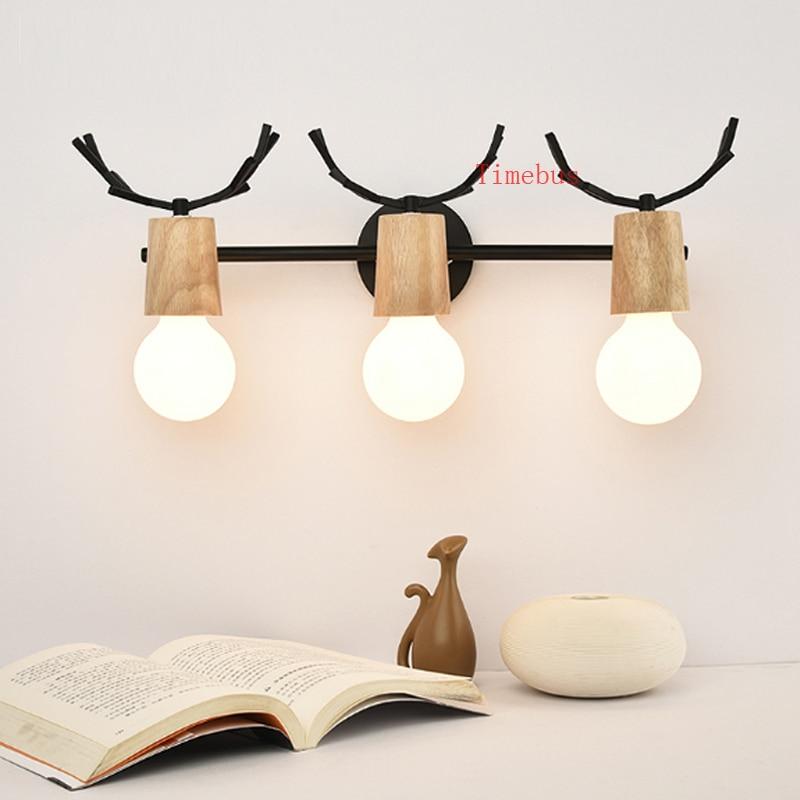 Mirror lamp LED creative wall lamp bathroom light antlers dresser wall light mirror vanity light bedroom study led wall sconce цена
