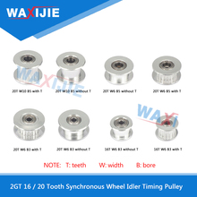 цена на 10pcs/lot GT2 Idler Pulley Timing Gear 16 / 20 Tooth Bore 3mm 5mm Width 6mm 10mm Aluminium Synchronous Wheel 3D Printers Parts