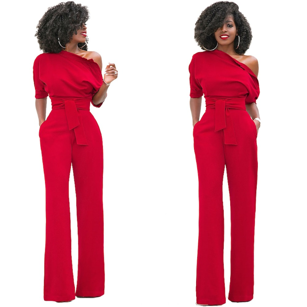 HAOOHU Shoulder Sashes Sexy Women   Jumpsuit   Romper Fashion Half Sleeve Pockets Rompers Womens   Jumpsuit   Casual Ladies   Jumpsuits