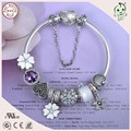 High Quality European Popular Shinning White Cherry  Charm Series  925 Real Silver Charm Bracelet With Full Stone Heart Clasp