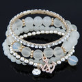 2015 de Bohemia del verano jalea del caramelo Beads Anchor Crystal Charm Bracelets Bangles con cuentas de múltiples capas accesorios elásticos mujeres