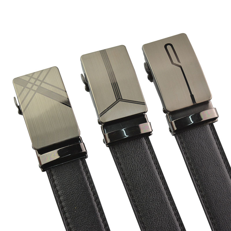 Hot selling Men   belt   fashion black Imitation leather Alloy Automatic buckle   belt   business affairs Men casual decoration   belt