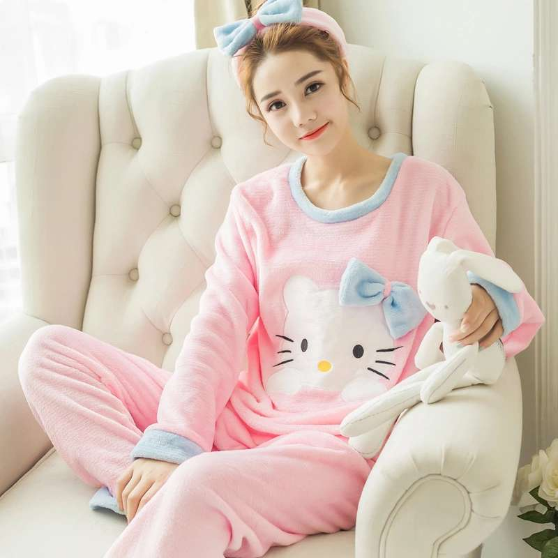 Women Cute Pink Hello Kitty Cat Coral Velvet Pajama Set 2018 Winter Thick Soft Sleepwear Warm Japanese Fashion Pijama Home Suit
