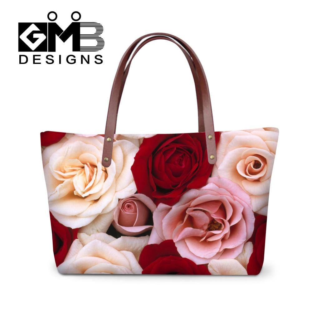 39d257c2a5e20 Rose Kwiaty Projekt Kobiety Torebki Na Walentynki Messenger Torby Top  Uchwyt Na Ramię Torby Tote Bolsas Mujer Duża Plaża torba