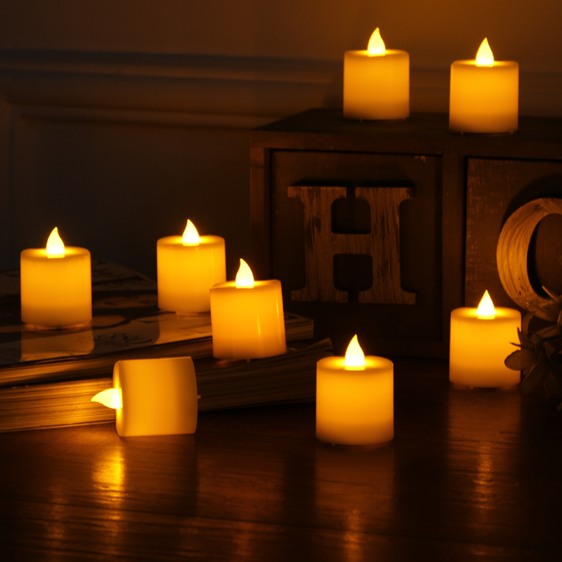 20pcs LED Yellow Tea Light Electronic Flameless Candles Simulation Flame Flicker Candle Lamps Flash Tealights for Wedding Party