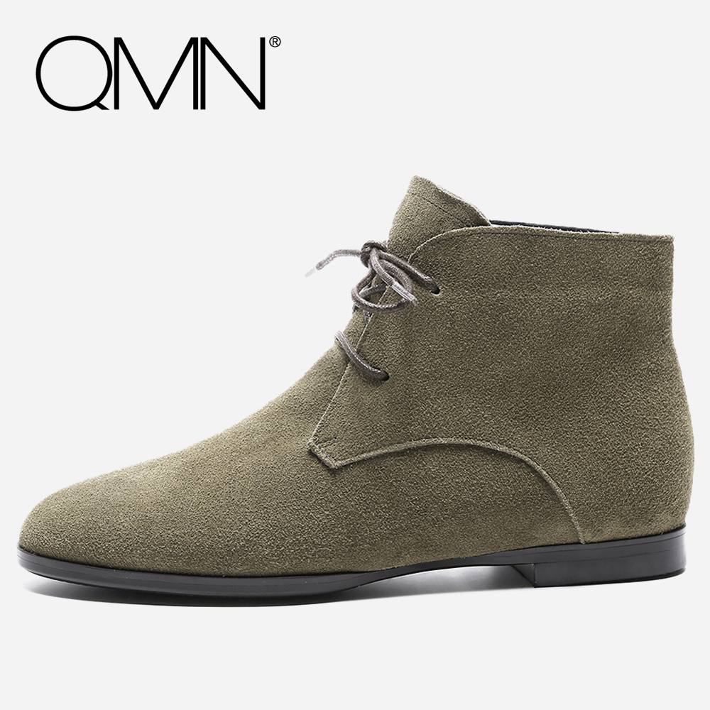 QMN women genuine leather ankle boots for Women Cow Suede Fashion Boots Lace Up Shoes Woman Martin Boots Botas Size 34-42 qmn women distressed brushed cow suede brogue shoes women round toe lace up oxfords shoes woman genuine leather flats